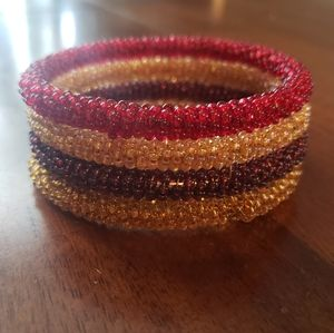 Red Yellow Gold Brown Bead Bangle Bracelet